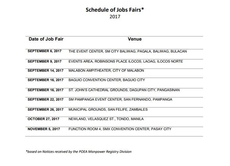 POEA job fairs